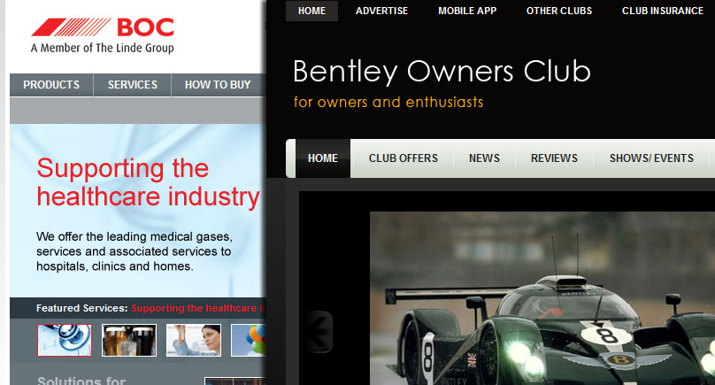 Screenshot of the British Oxygen Company and Bentley Owners Club websites.