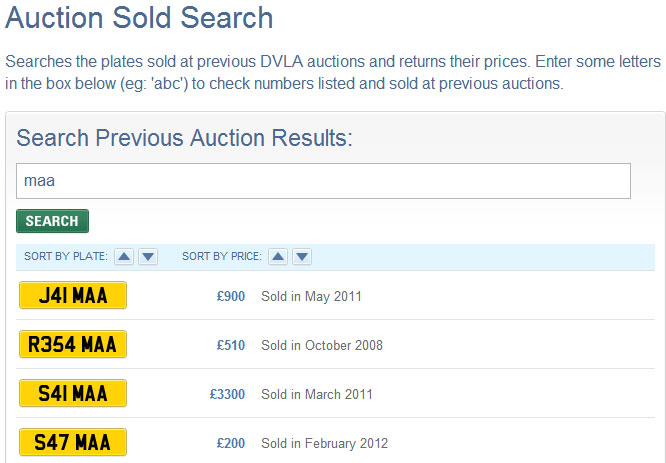 Screenshot of DVLA Auction website results for MAA