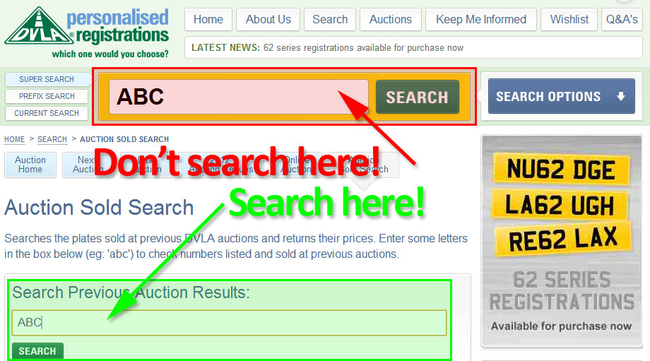 Screenshot of DVLA Auction Search – make sure you use the right box!