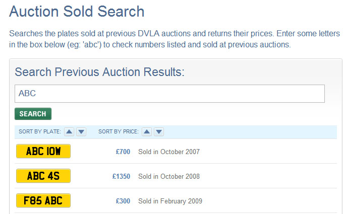 Screenshot of DVLA Auction website results for ABC 123